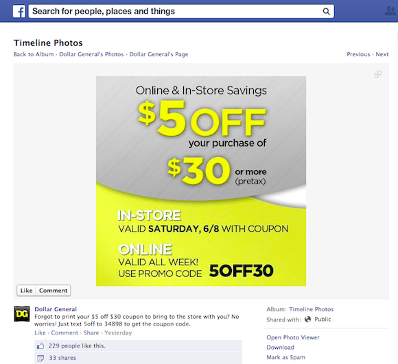 Dollar General Facebook Fan Page